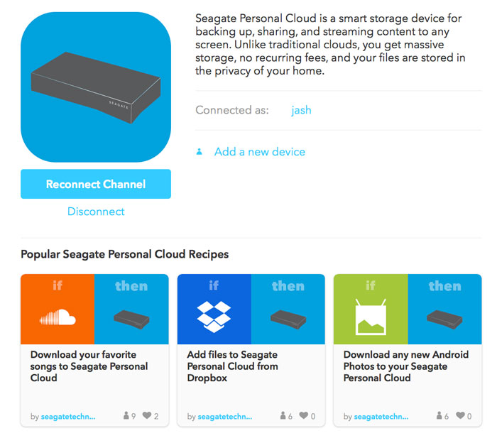 IFTTT for Seagate Network Storage User Manual - Using IFTTT