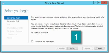 Screen shot of the new volume wizard
