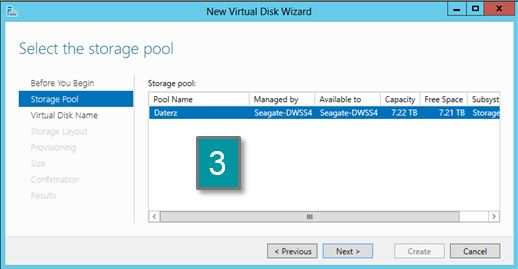 Image of storage pool with name selected