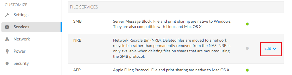 Edit Network Recycle Bin (NRB) Service