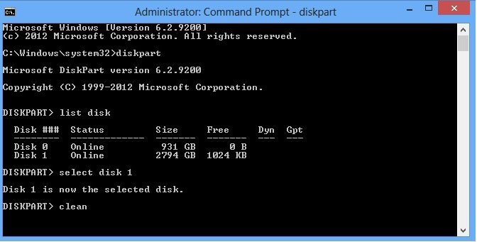 "Shows the command prompt window and that I have typed ""clean"""