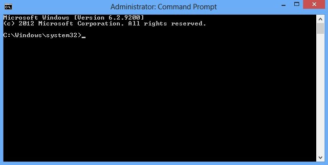 Shows the command prompt window C:\Windows\system32>_ is the bottom line.