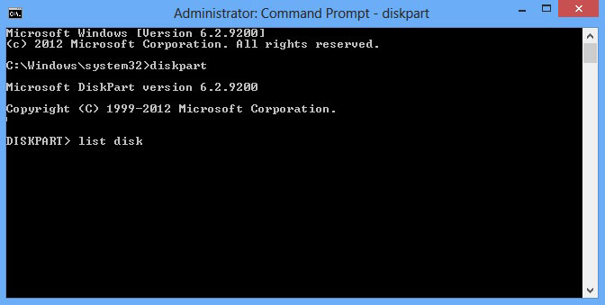 "Shows the command prompt window and that I have typed ""list disk"""