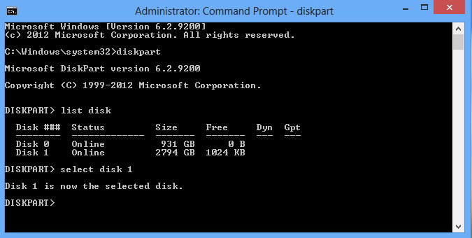 """Shows the command prompt window and displays that Disk 1 is now the selected disk """