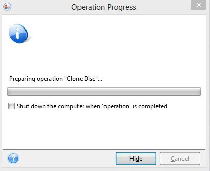 *From Boot CD* Shows the operation progress of the Clone.