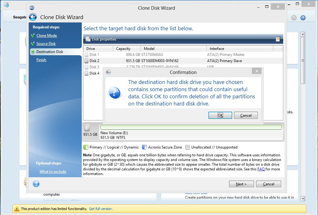 *Inside Windows* Pop Up warning tell you that Discwizard will delete all partition off the Destination Disc.
