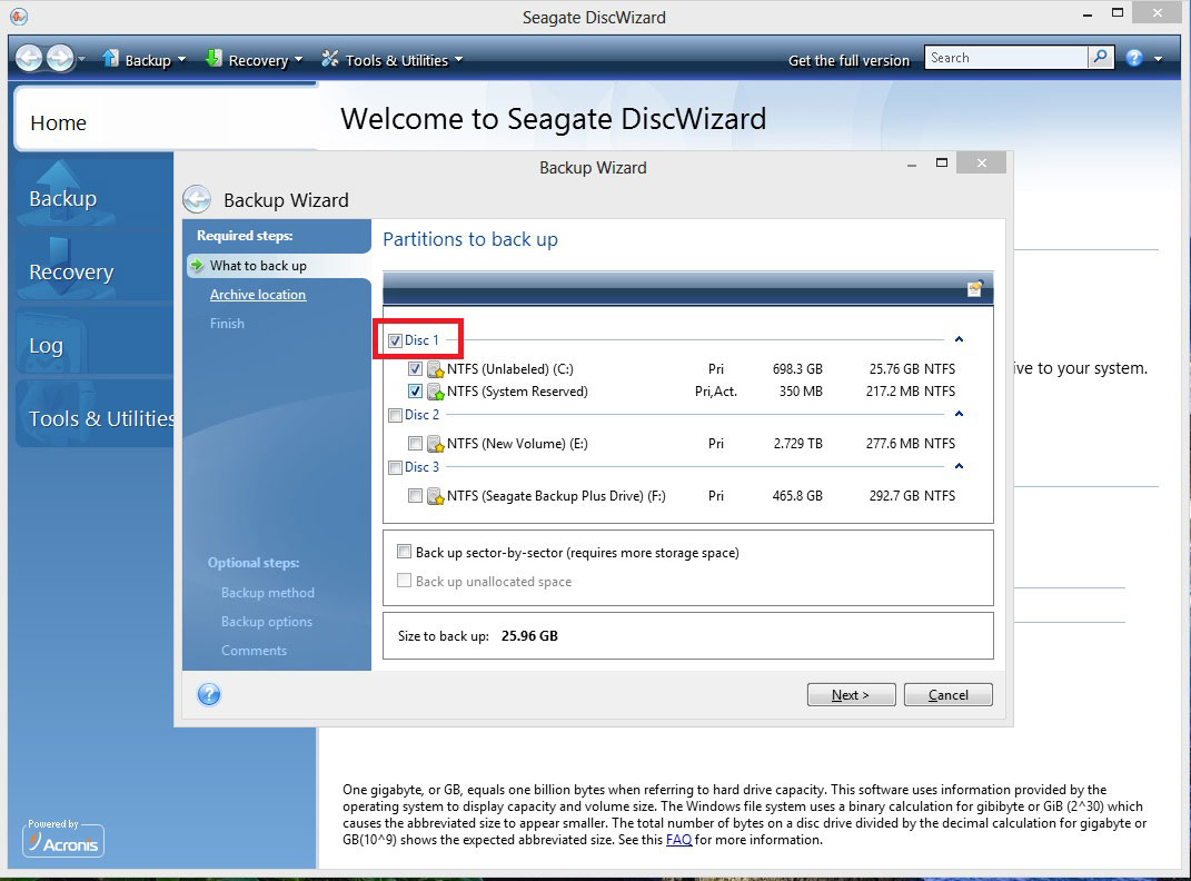How to Create an Image Backup from the Bootable Media CD with