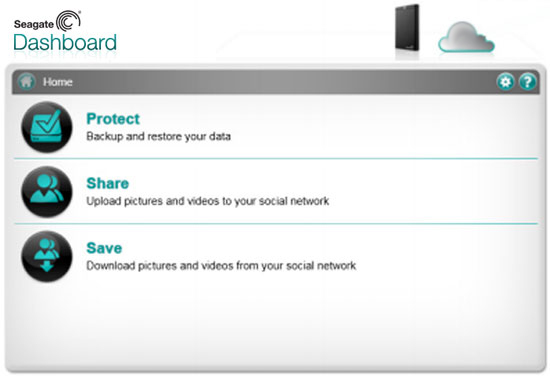 Seagate Dashboard's Protect, Share, and Save options on its Backup Plus family of external drives